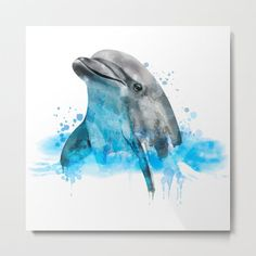 Dolphin Watercolor, Dolphin Painting, Dolphin Gift, Dolphin Poster, Dolphin Print, Dolphin Aquarelle Metal Art Print by Roman Poljak - Large