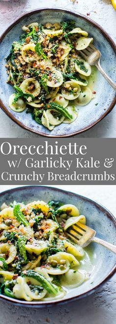 Orecchiette with Garlicky Kale and Breadcrumbs; a hearty, flavor-packed pasta ready in about 45 minutes. #VegetarianRecipes #Vegetarian #Pasta #Recipe