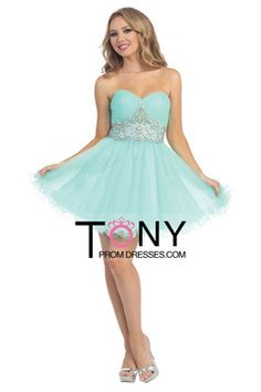 2015 Sweetheart A Line Homecoming Dresses With Beading And Ruffles Short $139.99 TPP8KP587T - TonyPromDresses.com