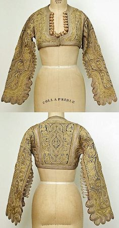 Golden metal thread embroidered vest, from a Serbian bridal ensemble in late-Ottoman style, ca. 1900.  (Met Museum, N.Y.)