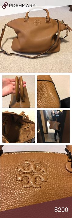 Tory Burch Thea Satchel Leather Crossbody Great condition Tory Burch Thea bag, only used for a few months. Will come with original price tag but no dust bag. Only flaw is a small scratch on the leather, see picture. Smoke free, pet friendly home. Tory Burch Bags Satchels