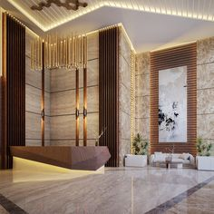 Mixed Use Bulding on Behance Corporate Office Design, Modern Office Design, Office Interior Design, Hotel Lobby Design, Modern Hotel Lobby, Flur Design, Hall Design, Design Design, Hotel Interiors