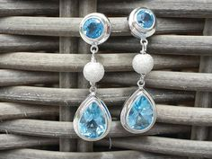 Topaz Gemstone Sterling Silver Earrings-These earrings are made of real blue topaz gemstone set in sterling silver 925 with silver sparkling ball detail - handmade by artisans from Bali, Indonesia.  These are extremely stunning earrings - not too small, but at the same time fairly dainty. Suitable to be worn both during the day and for an elegant look at night.  The topaz used is a natural mineral. We use no synthetic stones in our workshops. https://www.discovered.us/goods/3804/topaz-gemst