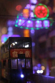 Hong Kong Night Tram Bokeh