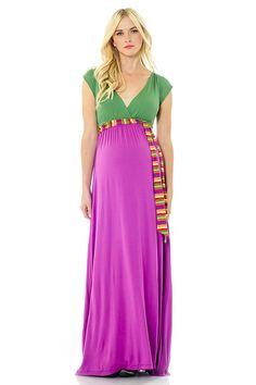 JILL MAXI DRESS - KELLY GREEN/PURPLE #maternity #lilacclothing #springfashion #maxidress #purple #green #capsleeves