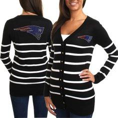 Cuce New England Patriots Ladies The Quarterback Sweater - Black/White