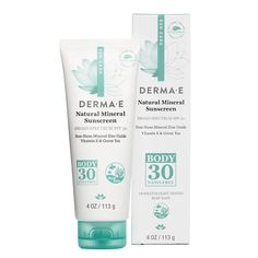 Derma E Natural Mineral Sunscreen Broad Spectrum SPF 30 Body - Derma E's Antioxidant Natural Sunscreen SPF 30 Body Lotion helps shield skin from harmful UVA/UVB ra Sunscreen Spf 50, Natural Sunscreen, Vitis Vinifera, Broad Spectrum Sunscreen, Body Lotion, Zine, At Least, Skin Care, Summer Essentials