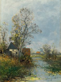 Landscape with hut and windmill, Johann Jungblut. Germany (1860 - 1912)