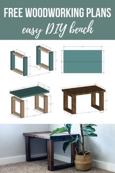 Want to learn how to build a DIY bench? Watch this video and grab the free wood bench plans so you can make your own small entryway bench. wood bench Easy DIY Bench For Small Entryway (With Free Plans) - Making Manzanita Wood Bench Plans, Woodworking Bench Plans, Easy Woodworking Projects, Build A Bench, Entry Bench Diy, Diy Wood Bench, Woodworking Tools, Bench Decor, Woodworking Machinery