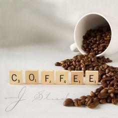Coffee Art Print, Fine Art Photography Print, Beans Scrabble Tiles Cup Mug Express on Etsy, $15.00