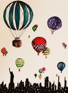 Hot Air Balloons Over New York City Illustration 8x10 Print