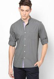 Slate Grey Colour Mandarin Collar Solid Full Sleeve Shirt