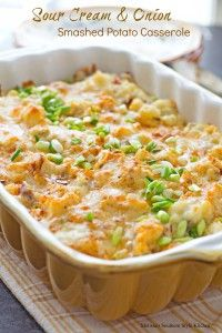 This sour cream and onion smashed potato casserole is one of those recipes you'll reach for over and over again. It just goes with everything so well and rounds out most any meal. It sort of celebrates the flavor combo of creamy sour cream with the tangy taste of onion and smothered potatoes.