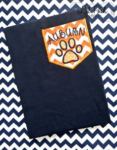 Auburn Tigers Sequin Tiger Paw Pocket T Shirt by lilposhboutique, $25.00
