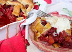 Strawberry Rhubarb Pie with Mascarpone Cream - La Bella Vita Cucina