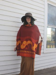 Hippie Poncho Vintage 60s 70s Rust Blanket Top 1960s by soulrust