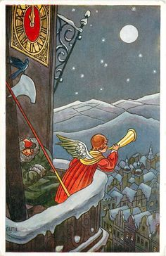 New Year~Midnight Clock Tower~Angel Blows Trumpet Over Town~Bird~Halberd~Czech Vintage Happy New Year, Christmas Cards, Xmas, New Year Card, Holiday Postcards, Trumpet, Tower, Clock, God