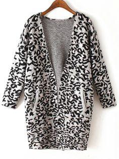 Grey Long Sleeve Leopard Knit Cardigan 24.67