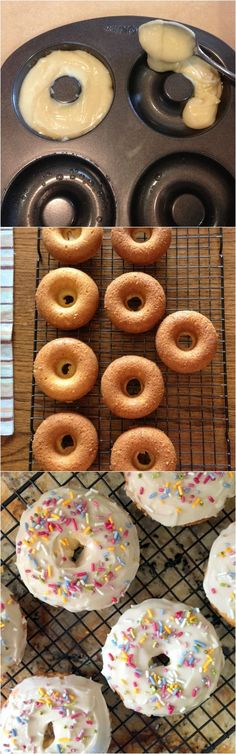 Baked Vanilla Cake Donuts with Frosting Oven Baked Vanilla Cake Donuts with Frosting & Sprinkles! Baked Donut Recipes, Baked Doughnuts, Donuts Donuts, Delicious Donuts, Delicious Desserts, Yummy Food, Just Desserts, Dessert Recipes, Cake Recipes