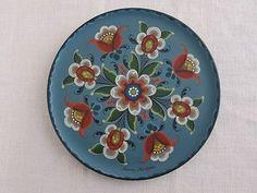 Norwegian-Rosemaling-8-Hand-Painted-Wooden-Plate-Blue