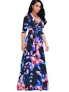 Floral Imprint Long Sleeve Plus Size Women's Dress