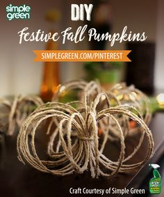 Spice up your fall décor this season! All craft supplies for these Twisty Twine Pumpkins can be purchased at @lowes and you can recreate them in 10 simple steps! #SimpleGreen