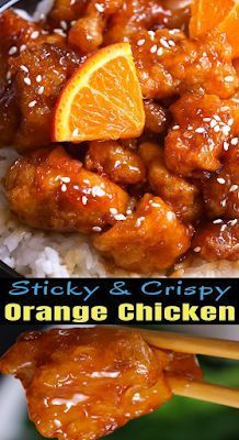 Sticky and Crispy Chinese Orange Chicken - New Ideas Chinese Orange Chicken, Orange Chicken Crock Pot, Almond Chicken, Baked Orange Chicken, Orange Marmalade Chicken, Asian Chicken, Sesame Chicken, Homemade Chinese Food, Healthy Chinese