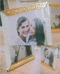 27 x 27 cm - White and Gold Glass Photoframe - Photographed by Gabriele Parafioriti Photography - Photo inside Taylor Lord