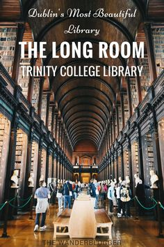 The Long Room inside Trinity College Library is the most beautiful library in Dublin. This is also where you can view the Book of Kells, one of Ireland's greatest national treasures. Trinity Library, Trinity College Dublin, College Books, College Library, Dublin Library, Dublin Travel, Ireland Travel, Best Uk Holidays, Kilkenny Castle