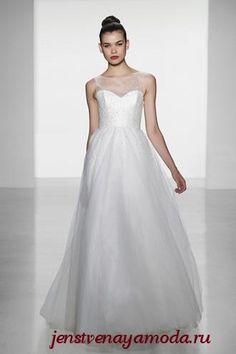 классическое свадебное платье с фальш-декольте