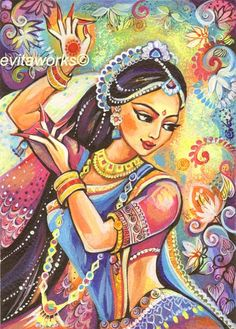 India Woman Girl Dancing Bollywood  Series Magic of by evitaworks, $5.00