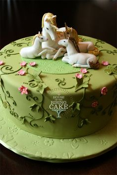 Unicorn birthday cake - This group of unicorns was to represent the Birthday… Gorgeous Cakes, Pretty Cakes, Cute Cakes, Amazing Cakes, Unicorne Cake, Cake Art, Cupcake Cakes, Horse Cake, Animal Cakes