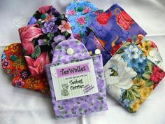 """Tea Wallet - each wallet holds 6 teabags, 4 sweetners & folds to a 3-1/2"""" square"""