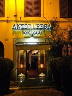 Our apartment was Garibaldi 24 this place was so great.    Antica Pesa  Via Garibaldi 18, Rome, Italy  +39 065809236  Celebs. Nouvelle Italian.