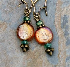 Bohemian Earrings, Dangly Earrings, Amber Gold Glass Beads, Teal Turquoise Crystals, Handmade, Colorful