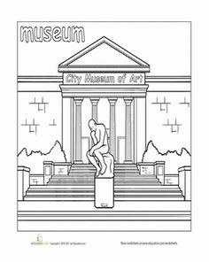 Paint the town coloring pages play mats for Community places coloring pages