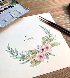 Floral Wreath Watercolor, Watercolor Cards, Watercolor Flowers, Watercolor Paintings, Original Paintings, Original Art, Watercolour, Wreath Drawing, Paint Cards
