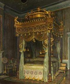 State Bed at Osterley Park - William Bruce Ellis Ranken - (British: 1881–1941) Bristol Museum & Art Gallery Bristol Museum, Music Pictures, Park Homes, Art Uk, Framed Prints, Canvas Prints, A4 Poster, Poster Beds, Rococo