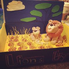 Lions Shoebox Diorama School Project (Model Magic, spaghetti, acrylic paint). Play-Doh Lion but from Model Magic: https://www.youtube.com/watch?v=-kzMEkUxMy4
