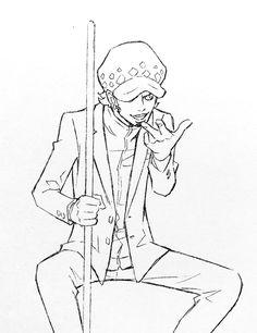 Comic Costume, One Piece Drawing, Challenge, Trafalgar Law, Anatomy Drawing, Anime Sketch, Webtoon, Art Drawings, Character Design