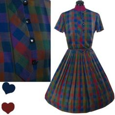 PinupDresses.com #Vintage #Dress Vintage 50s 60s PLAID Full Skirt Rockabilly DAY Dress S Stacy Ames Buttons Pleat