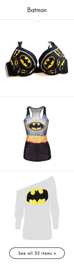 """Batman"" by savannahd11233 ❤ liked on Polyvore featuring intimates, bras, underwear, tops, bra, lingerie, batman, grey, women's clothing and rhinestone bra"