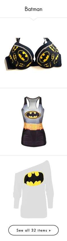 """Batman"" by savannahd11233 ❤ liked on Polyvore featuring intimates, bras, underwear, tops, bra, lingerie, batman, grey, women's clothing and rhinestone bra"