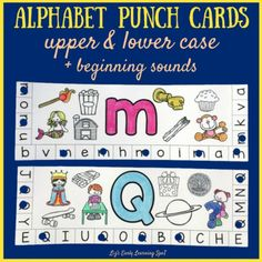 These upper case and lower case alphabet punch cards with beginning sounds pictures help children develop their fine motor skills at the same time as alphabet recognition. Alphabet Letter Crafts, Alphabet Book, Alphabet Activities, Preschool Activities, Prek Literacy, Fine Motor Skills Development, Beginning Sounds, Letter Formation, Letter Recognition