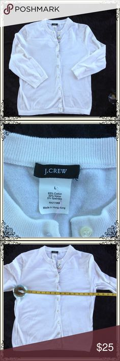 💰💰J Crew Button Down White Cardigan (#565) White Cardigan with 3/4 Sleeve. J. Crew Sweaters Cardigans
