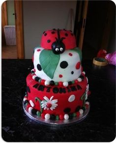 "Tina Ankettell Mccarthy - ""A ladybird cake for a little girls 1st birthday!"" #CakeDecorating #CakeOff"
