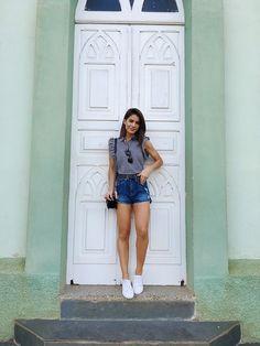 short jeans de cintura alta | luvmay.com.br