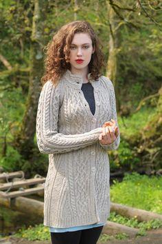 Ladies Long Button Celtic Sweater