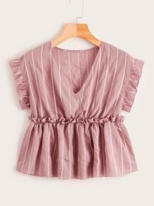 Product name: Vertical Striped Frill Trim Babydoll Blouse at SHEIN, Category: Blouses Crop Top Outfits, Dress Outfits, Casual Outfits, Cute Outfits, Teen Fashion Outfits, Fashion Dresses, Mode Chic, Plus Size Blouses, Blouse Designs