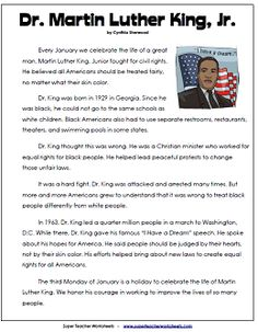 Martin Luther King Jr. Reading Comprehension Passage for kids